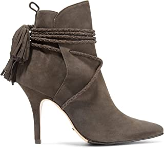 Fadhila Hot Coffee Braided Tasseled Lace-up Suede Ankle Pointed Boots