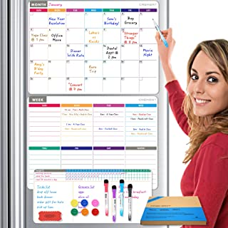Calendar Whiteboard Dry Erase Magnetic for Refrigerator 4 in 1: Monthly, Weekly Planner, Habit Tracker and Notepad for Wal...