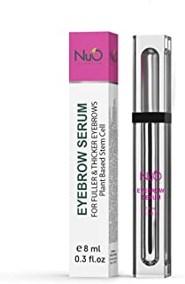 NuOrganic Eyebrow Serum Growth Enhancer Gel | Naturally Grow Fuller, Darker & Thicker brows | Plant Based Stem Cell Serum with Biotin & Growth Peptides | Fast Absorbing, Vegan & Cruelty Free (8ML)