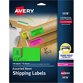 """Avery Neon Shipping Labels with Sure Feed for Laser Printers, 2"""" x 4"""", Assorted Colors, 150 Labels (5978)"""