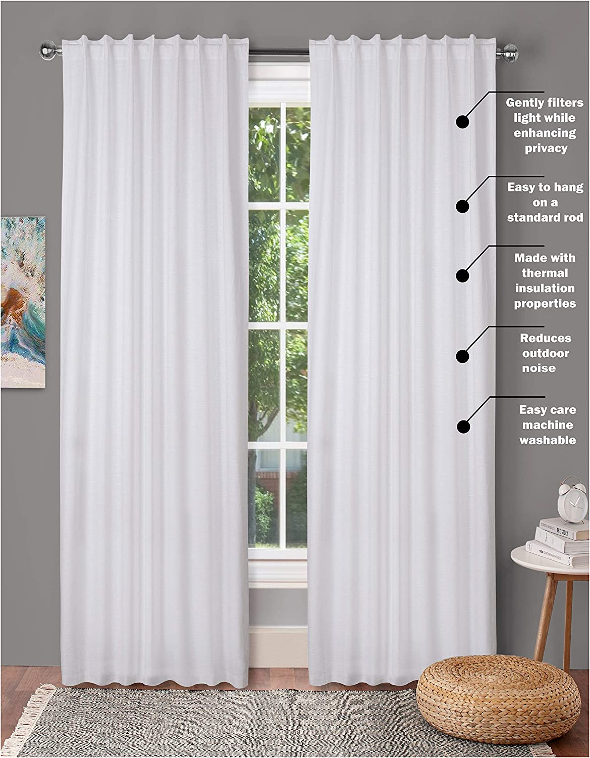 Window Panels Set of 2 Cotton - Fabric 50x96 Curtains Max 40% OFF inTextured Ranking TOP17