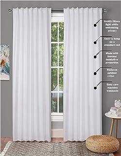 Tab Top Curtains,Farm House Curtain,Cotton Curtains,Curtain 2 Panel sets,Window Curtain Panel in Textured Cotton 50x108 Wh...