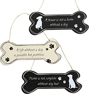 3 Piece Dog Bone Assorted Sign Set, Black and White, Rustic Rubbed Edges, Paw Print and Canine Silhouettes, Silk Screened Hand Drawn Graphics, Iron, Twine Hanger, 11 3/4 Inches Wide