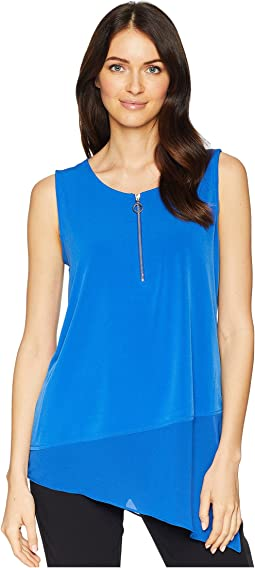 Sleeveless Asymmetrical Chiffon Hem Top