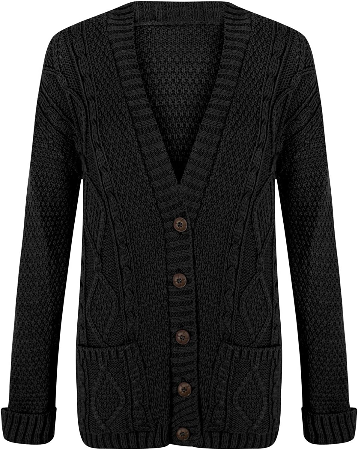Rimi Hanger Womens Long Sleeves Plus Size Cable Chunky Knitted Grandad Button Cardigan (US 4 to US 22)