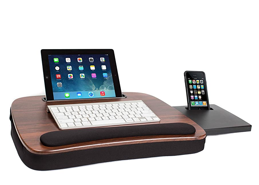 Sofia + Sam Multi Tasking Memory Foam Lap Desk (Wood Top)   Supports Laptops Up to 15 Inches