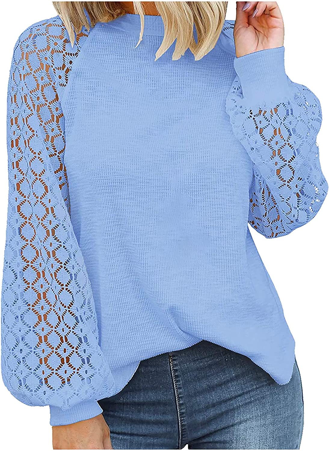 Women's O-Neck Long-Sleeved Lace Stitching Loose Tops Solid Sweatershirt
