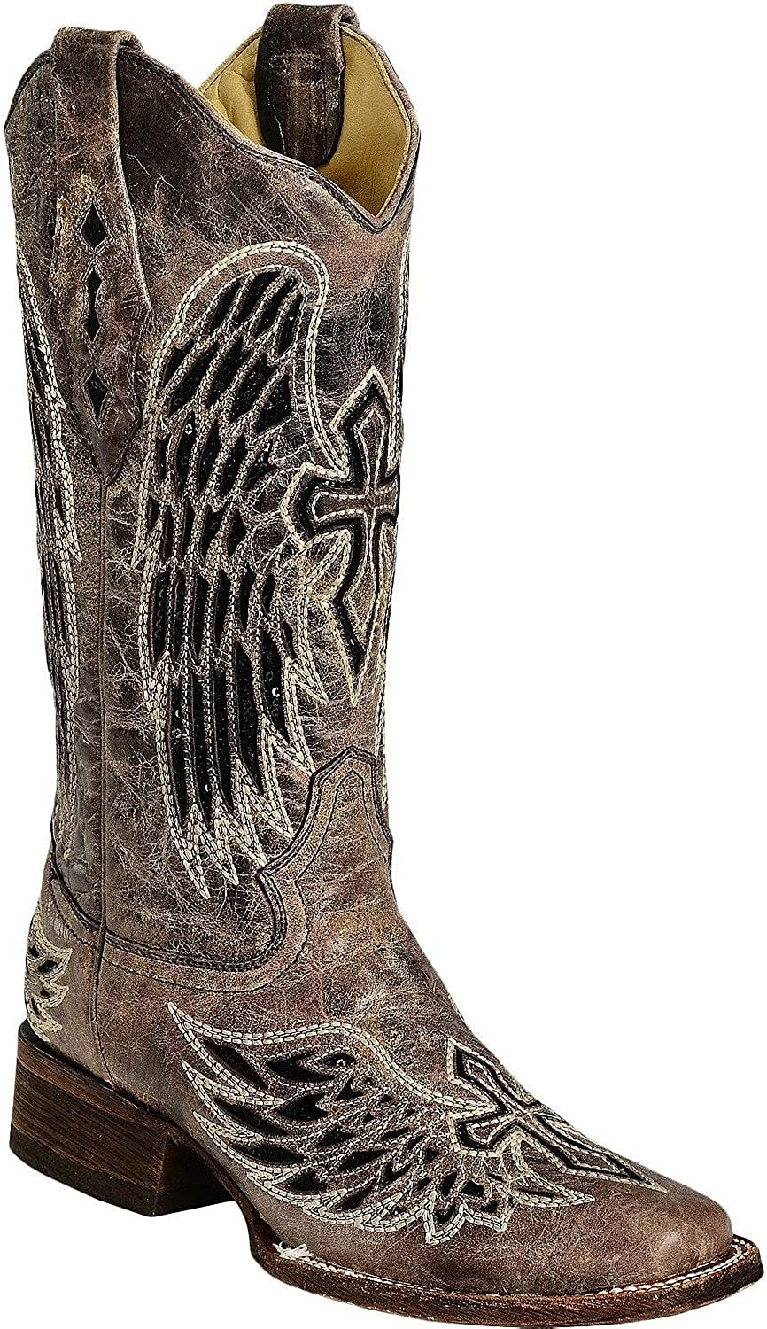 Corral Women's Sequin Wing And Cross Inlay Cowgirl Boot Square Toe