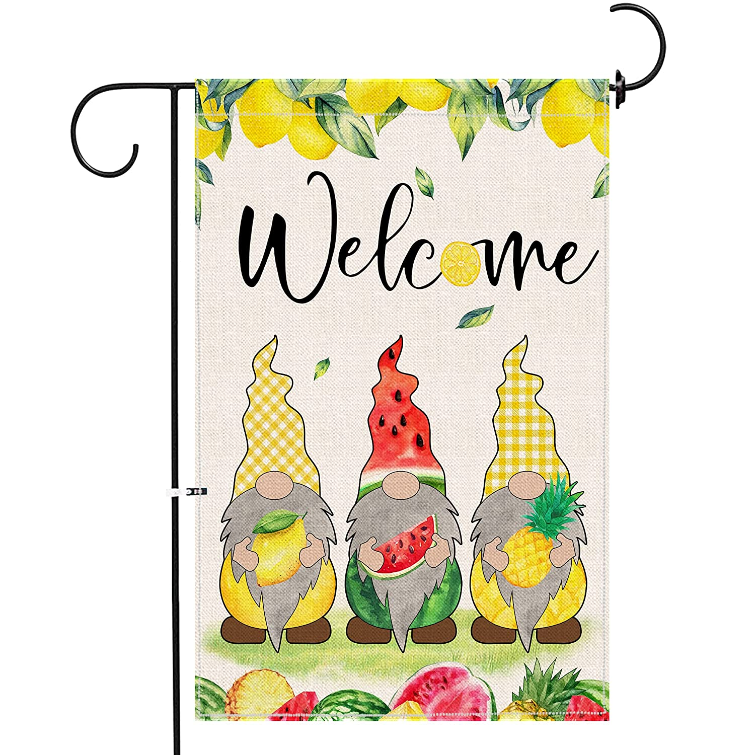 iloody Gnome Summer Garden Flag 12 X 18 Double Sided, Small Yard Summer Flag Colorful Lemon Watermelon Burlap Decor, Cute Welcome Garden Flag Seasonal Gnomes Sign for Outside Patio Lawn Home Outdoor