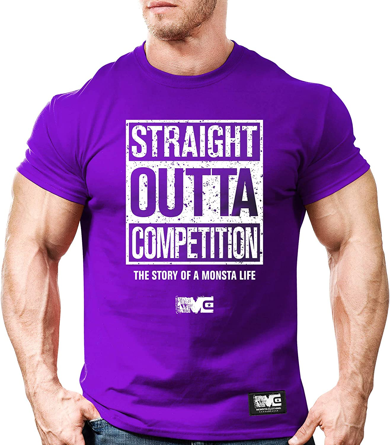 New Men/'s Monsta Clothing Fitness Gym T-shirt Straight Outta Competition