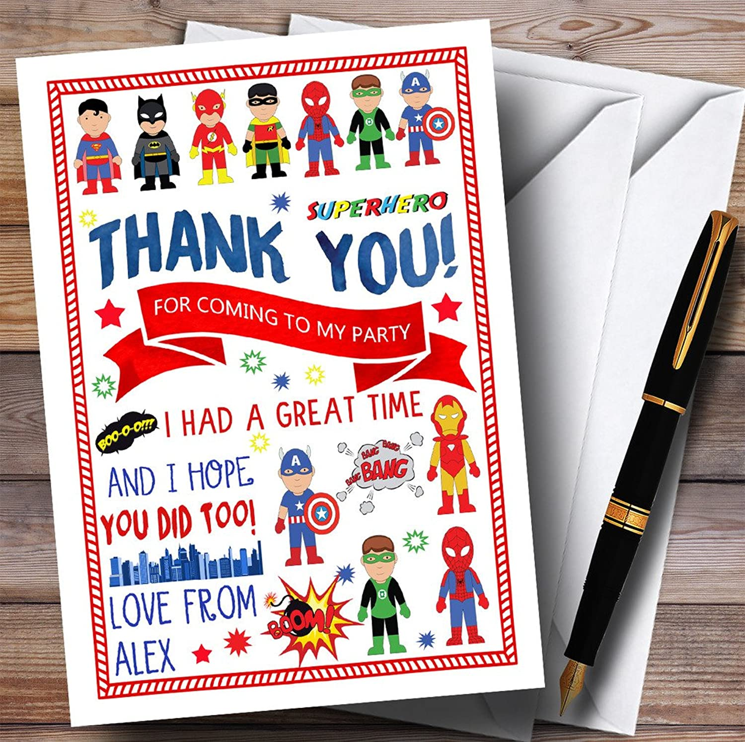 Superhero Comic Party Thank You Cards