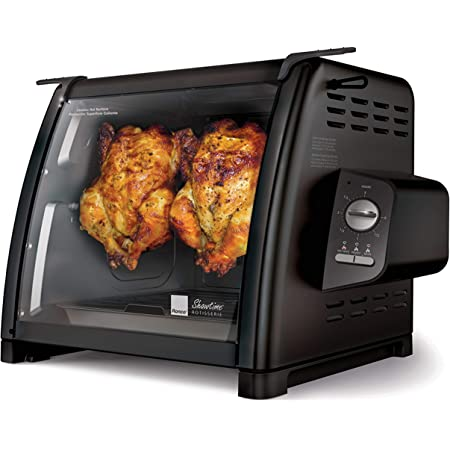 Ronco Showtime Large Capacity Rotisserie & BBQ Oven Modern Edition, Simple Switch Controls, Silicone Door Tie, Auto Shutoff, Includes Multipurpose Basket