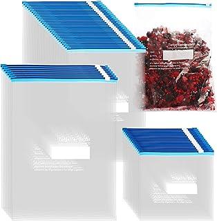 COM-FOUR® 52 pièces Lot de sacs de congélation 1L, 3L, 6L pour sceller, sacs de conservation refermables pour le stockage ...
