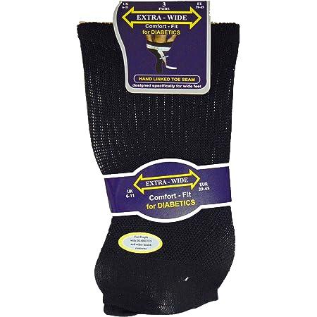 3 Pairs Mens Extra Wide Comfort Fit Diabetic Socks Oedema Poor Circulation Gents, Black, UK 6-11