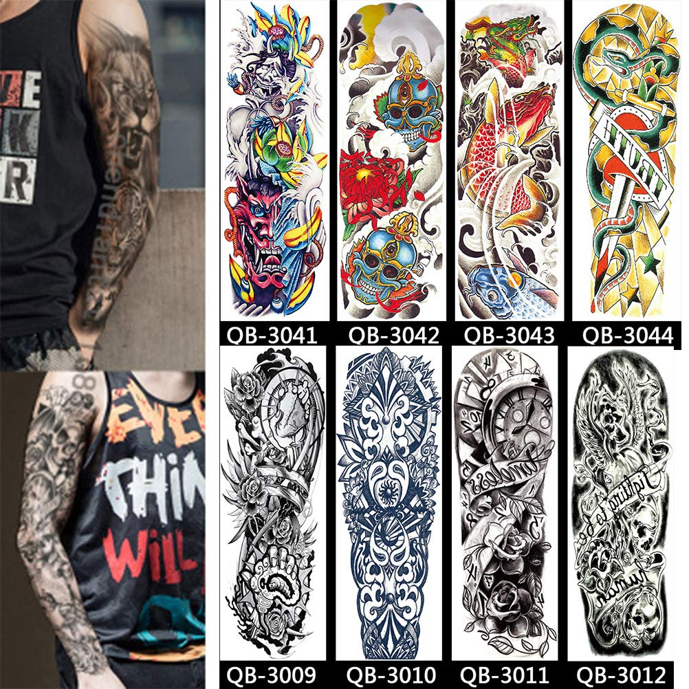Tatuaje temporal de brazo completo de 16 hojas, tatuaje temporal adicional Etiquetas engomadas negras del cuerpo del tatuaje Etiquetas engomadas coloridas negras del cuerpo del tatuaje temporal del br: Amazon.es: Hogar