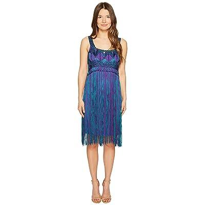Alberta Ferretti Sleeveless Fringe Dress (Fantasy Print Violet) Women