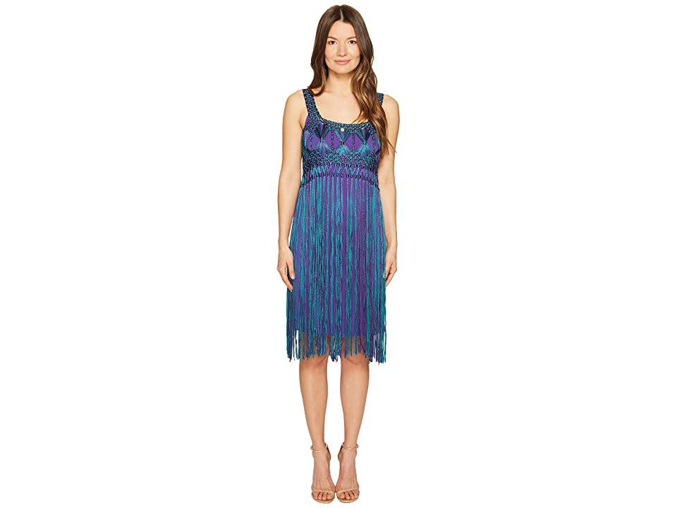Image of Alberta Ferretti Sleeveless Fringe Dress (Fantasy Print Violet) Women's Dress