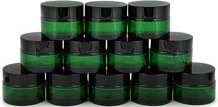 Vivaplex, 12, Green, 1 oz, Round Glass Jars, with Inner Liners and black Lids