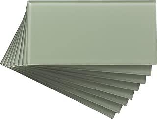 Aspect Peel and Stick Backsplash 3in x 6in Fresh Sage Glass Backsplash Tile for Kitchen and Bathrooms (8-Pack)