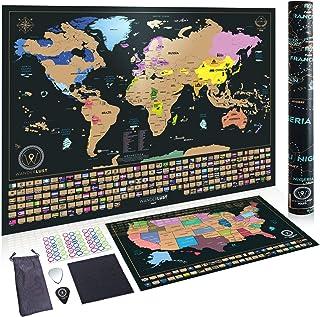 Dos Mapas De Rascar - Mapa Mundi Rascar Y Mapa Estados Unidos. Pósteres Rascables De Viaje, De Gran Calidad, Para Adultos O Niños. Hechos En Europa.