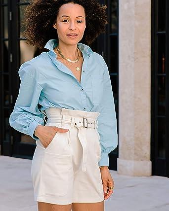 The Drop Shorts Blanco Marfil con Cintura tipo «Paperbag» con Cinturón por @scoutthecity