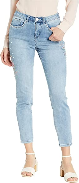 Statement Denim Embroidered Flowers with Pearls Olivia Slim Ankle in Cool Blue