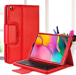 GCION Keyboard Case for Samsung Galaxy Tab A 10.1 2019 (SM-T510,SM-T515),Premium PU Leather Stand Cover with Detachable Wireless Bluetooth Keyboard,Red