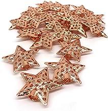 CVHOMEDECO. Rose Gold Metal 3D Star Design Decorations Hanging Decorative Barn Stars Accessories for Home Bedroom Wedding ...