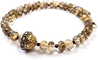 14k Gold Rose Cut Diamond Ball with 24kt Gold Leaf Smoky Topaz & Black Spinel Statement Necklace - 17 Inches Long Handmade Necklace by Miller Mae Designs