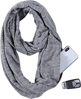 Infinity Scarf With Zipper Pocket for Women,Lightweight Hidden Pocket Travel Scarves Wrap