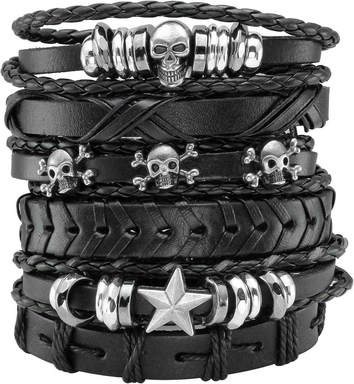 MILAKOO 6Pcs Black Braided Leather Bracelet for Men Women Punk Skull Bracelet Rock