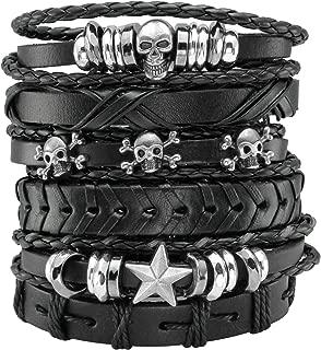 6 Pcs Leather Bracelet Black Braided Wide Wristband Women Men Punk Jewelry Skull