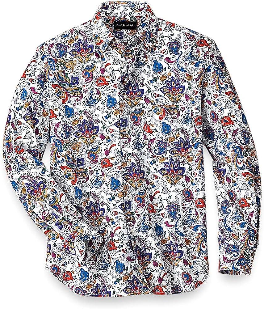 Paul Fredrick Men's Easy Care Cotton Paisley Casual Shirt, White