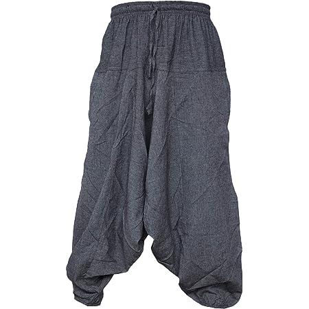Gheri Men's Cotton Hemp Harem Aladdin Genie Wide Crotch Ninja Pants Trousers Light Grey LXL
