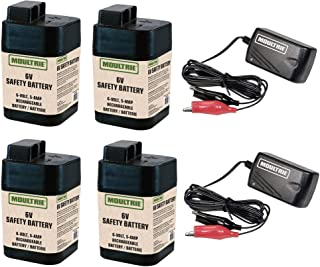 Moultrie 6 Volt Rechargeable Game Feeder Battery MFHP12406 (4 Pack) + 2 Chargers