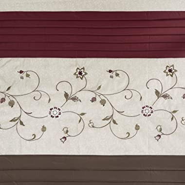 Madison Park Serene Shower Curtain Faux Silk Embroidered Floral Machine Washable Modern Home Bathroom Decorations, 72x72, Red