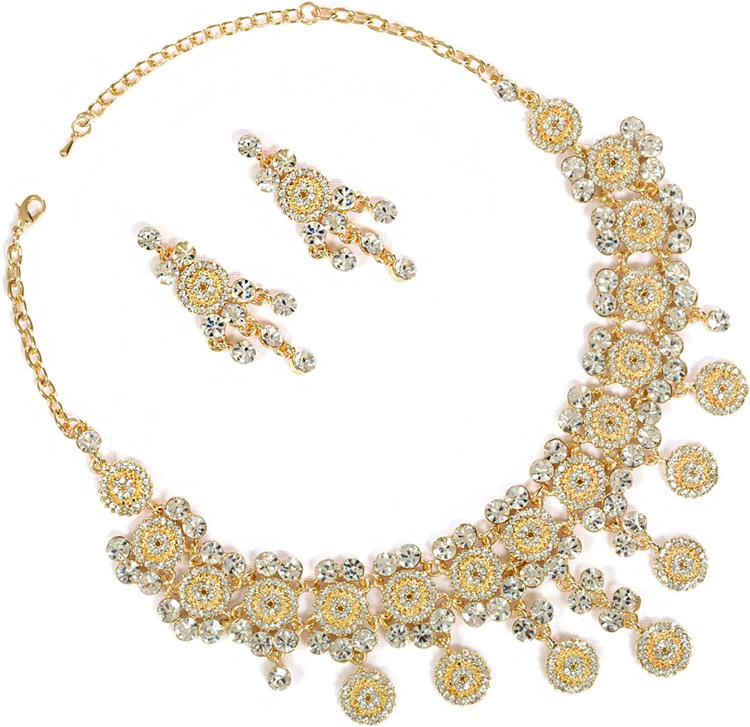 Topwholesalejewel Gold Crystal Rhinestone Circle Shape and Crystal Stones Necklace with Matching Earrings Jewelry Set