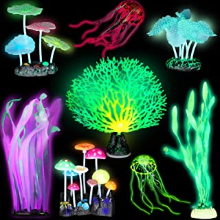 Frienda 8 Pieces Glowing Fish Tank Decorations Plants with 2 Style Glowing Kelp, Sea Anemone, Simulation Coral, Jellyfish,...