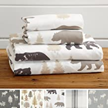 Great Bay Home 3-Piece Lodge Printed Ultra-Soft Microfiber Sheet Set. Beautiful Patterns Drawn from Nature, Comfortable, All-Season Bed Sheets. (Twin, Bear)