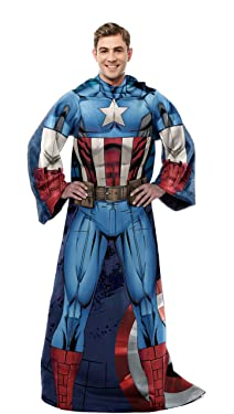 Marvel Comfy Throw Blanket with Sleeves, Adult-48 x 71 Inches, Captain America
