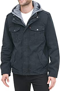 Levi's Men's Washed Cotton Hooded Military Jacket