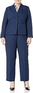 Le Suit Women's Plus Size Two Button Navy Pant Suit