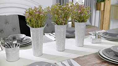 WH Galvanized Metal Farmhouse Flower Vases 9 Inch, Set of 3 - Rustic Decorative French Flower Bucket Pots for Wedding Table C
