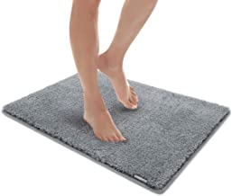 MICRODRY Soft & Cozy Memory Foam Bath Mat with GripTex Skid Resistant Base 17x24 Grey
