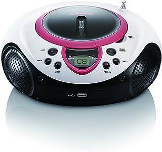 Lenco Kinder Radio CD-Player SCD-38 tragbares UKW-Radio mit CD/MP3-Player und USB in pink