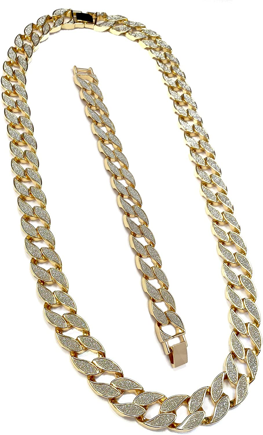 discount Exo Jewel Miami Now free shipping Cuban Link Chain Necklace Bracelet Gold in 18k