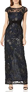 Adrianna Papell Womens AP1E200799 Embroidered Mesh and Jersey Gown Short-Sleeve Dress - Multi
