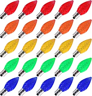 Brightown 25 Pack C7 LED Replacement Christmas Light Bulb, C7 Shatterproof LED Bulbs for Christmas String Lights, E12 Candelabra Base, Commercial Grade Dimmable Holiday Bulbs, Multicolor