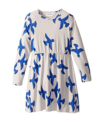 mini rodini Flying Birds Long Sleeve Dress (Infant/Toddler/Little Kids/Big Kids) (Light Grey) Girl