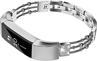 TOYOUTHS Compatible with Fitbit Alta Bands and Fitbit Alta hr Bands for Women, Bling Metal Adjustable Replacement Dressy Bracelet Wrist Bands Rose Gold Silver Black